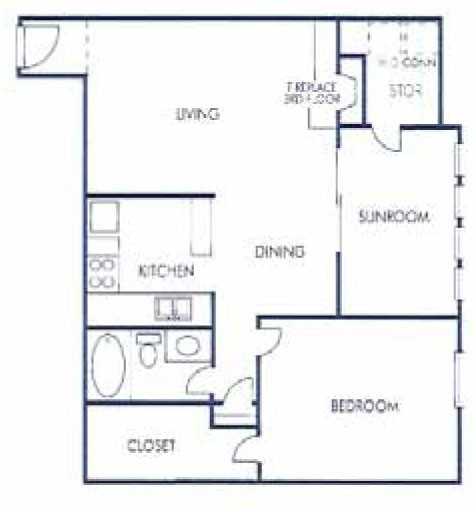 838 sq. ft. E floor plan