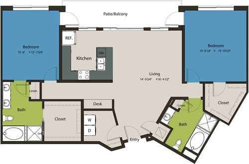 1,509 sq. ft. B1 floor plan