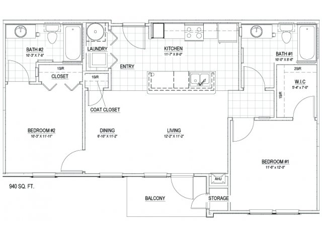 940 sq. ft. 30 floor plan