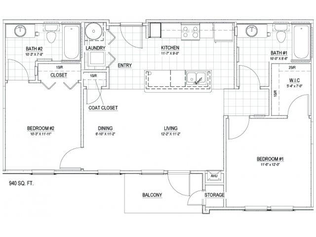 940 sq. ft. 30 floor plan