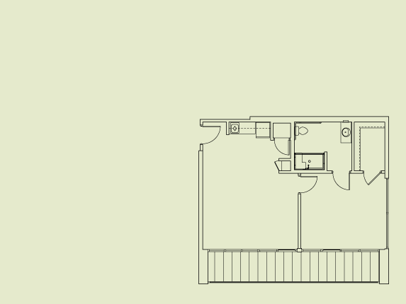 500 sq. ft. to 650 sq. ft. Assisted Living floor plan