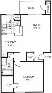 614 sq. ft. A floor plan