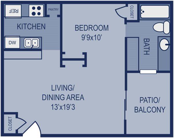 540 sq. ft. E2 floor plan