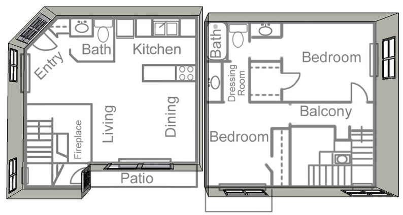 914 sq. ft. E floor plan