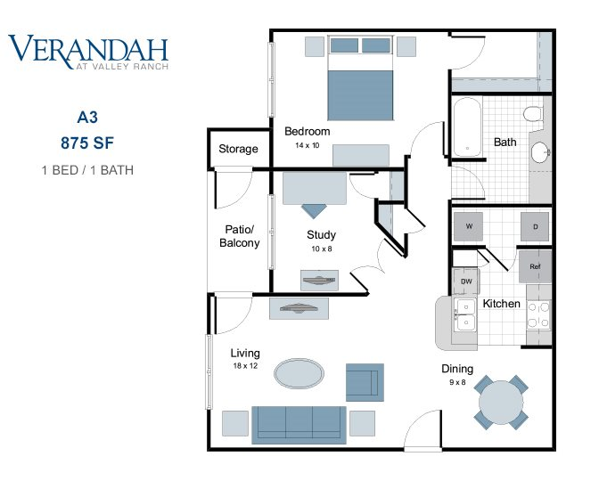 875 sq. ft. A3 floor plan