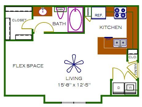 516 sq. ft. Lenox floor plan