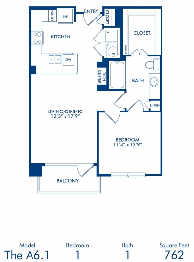 762 sq. ft. A6.1 floor plan