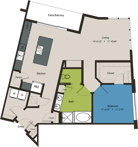 1,070 sq. ft. A11 floor plan