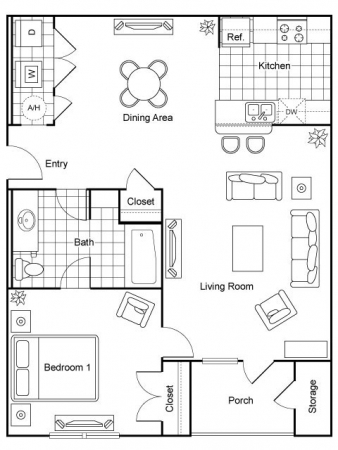850 sq. ft. Seabiscuit/60% floor plan