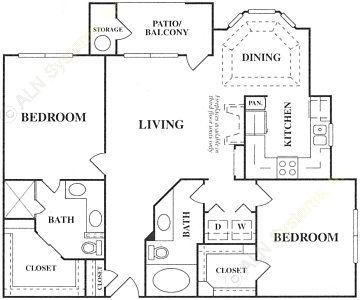 1,078 sq. ft. C1 floor plan
