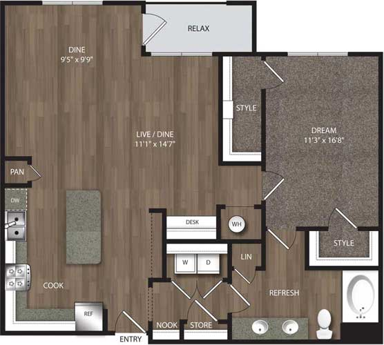 1,175 sq. ft. A6 Alt floor plan