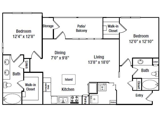1,133 sq. ft. B7 floor plan
