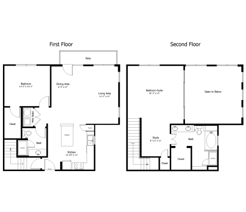 1,454 sq. ft. to 1,695 sq. ft. 4BL3 floor plan