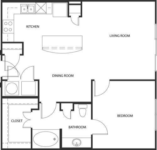 673 sq. ft. 3A0-1 floor plan