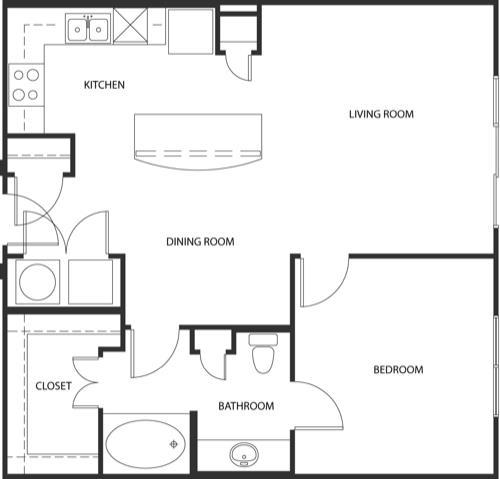 823 sq. ft. A4-C floor plan