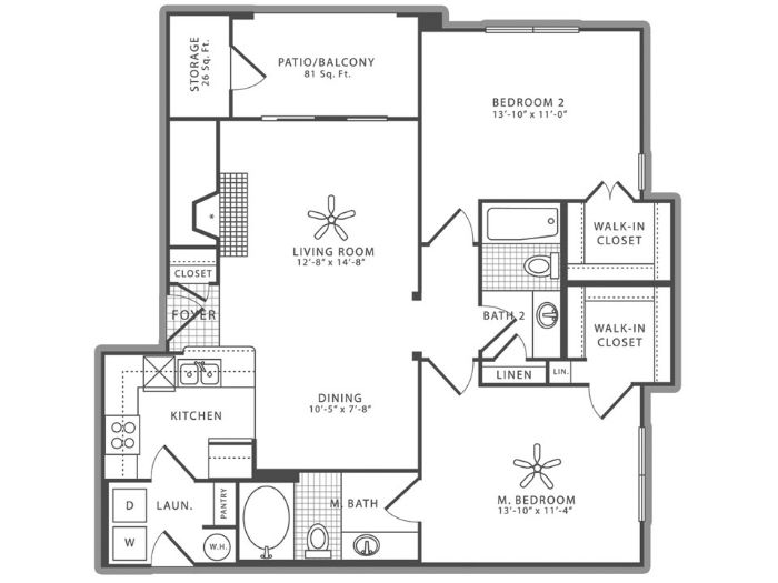 1,062 sq. ft. B1 floor plan