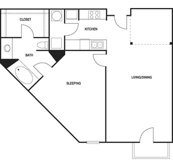 877 sq. ft. floor plan