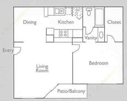 613 sq. ft. 1B floor plan