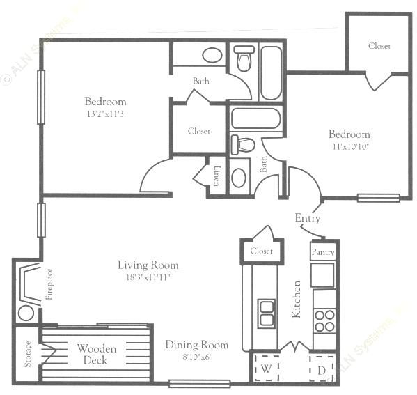 920 sq. ft. B2 floor plan