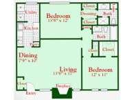 1,070 sq. ft. B5 floor plan
