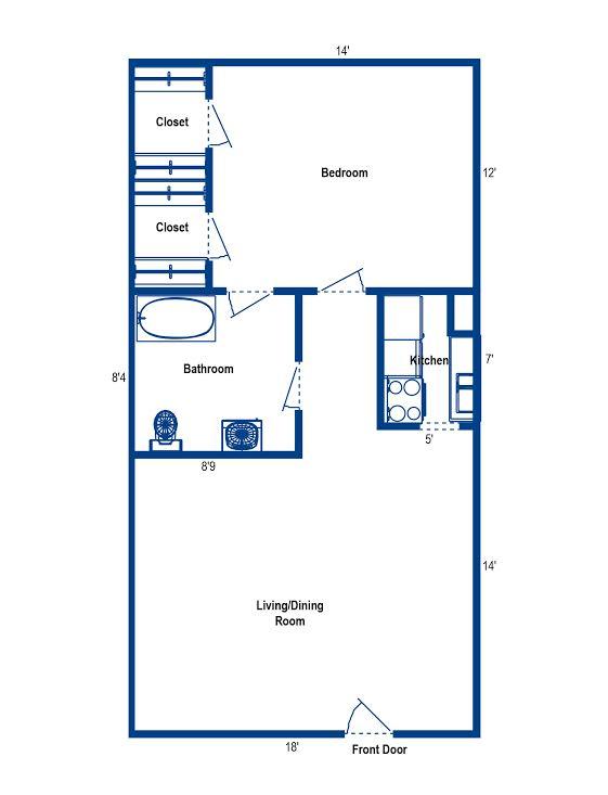 665 sq. ft. 1H floor plan