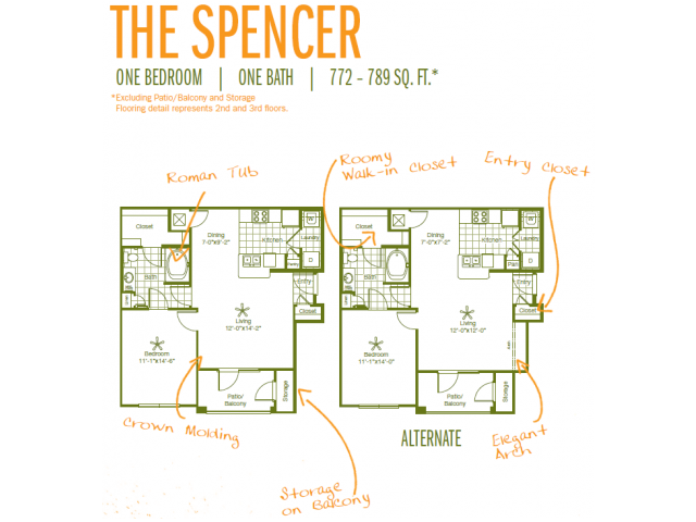 772 sq. ft. Spencer floor plan