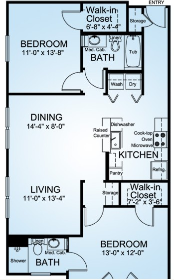 1,073 sq. ft. BUENA VISTA floor plan
