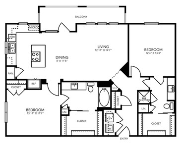 1,199 sq. ft. B6 floor plan