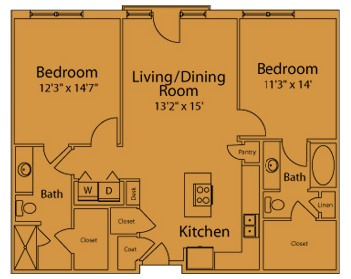 1,147 sq. ft. DE floor plan