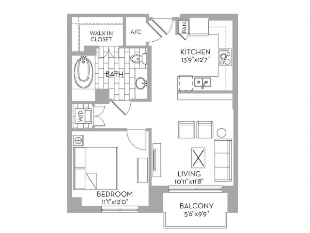 719 sq. ft. Royal(A.4) floor plan