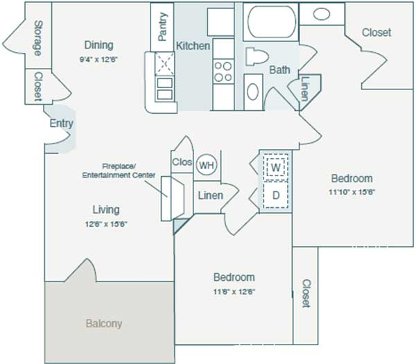1,024 sq. ft. A4 floor plan