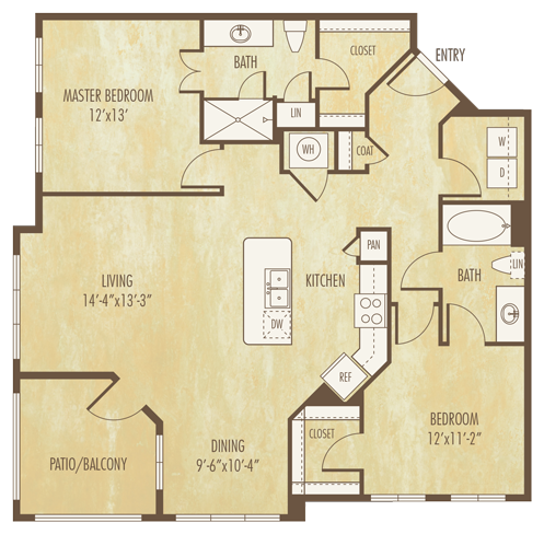 1,250 sq. ft. B3A floor plan