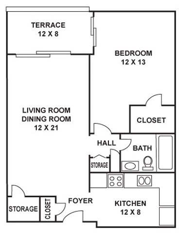 760 sq. ft. Bryan floor plan