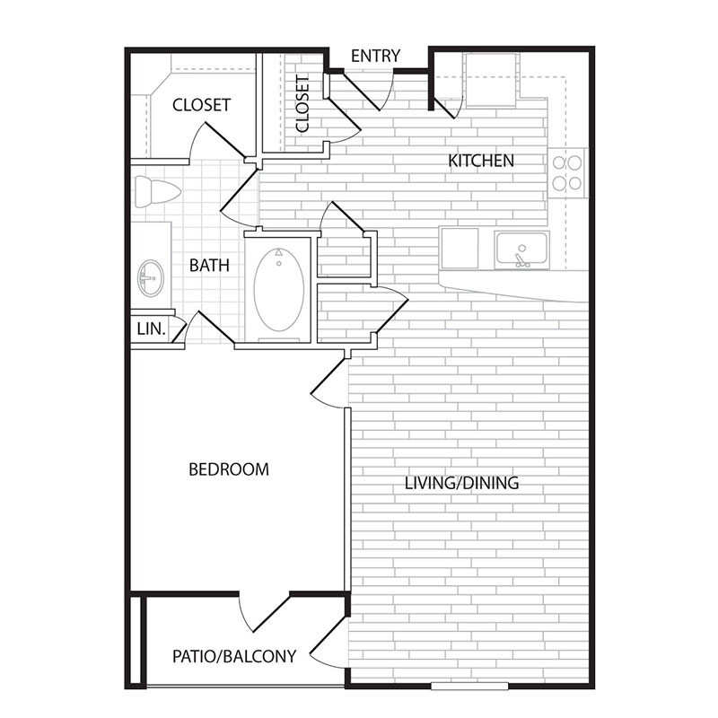 734 sq. ft. to 787 sq. ft. A2 floor plan