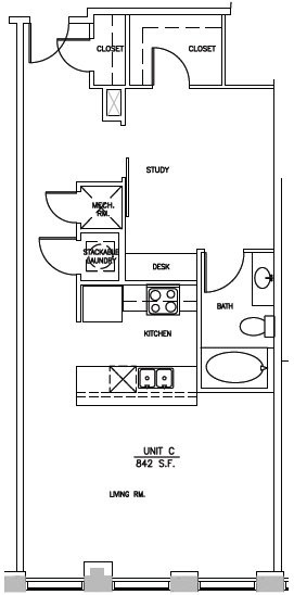 842 sq. ft. A2 Elm floor plan