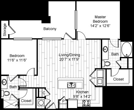 1,119 sq. ft. 22F2 floor plan