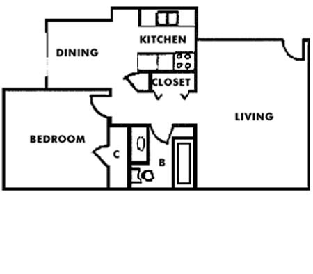 578 sq. ft. A1 floor plan