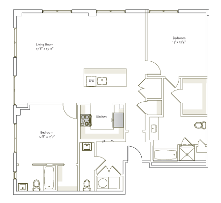 1,307 sq. ft. B2-4 floor plan