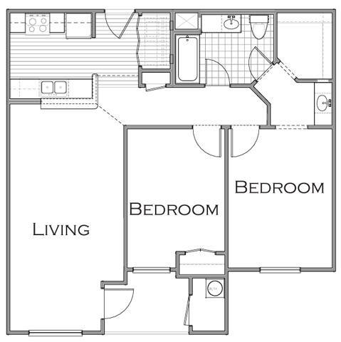 952 sq. ft. B1 floor plan