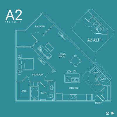 749 sq. ft. A2 floor plan