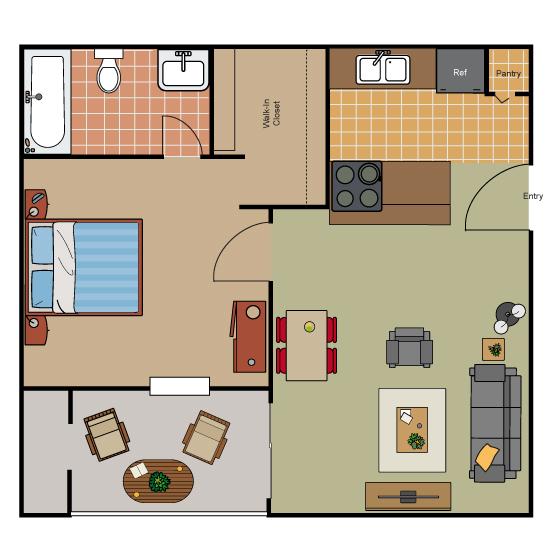 508 sq. ft. Eff floor plan
