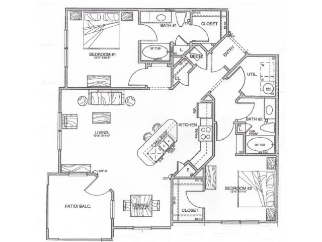 1,158 sq. ft. B2 floor plan
