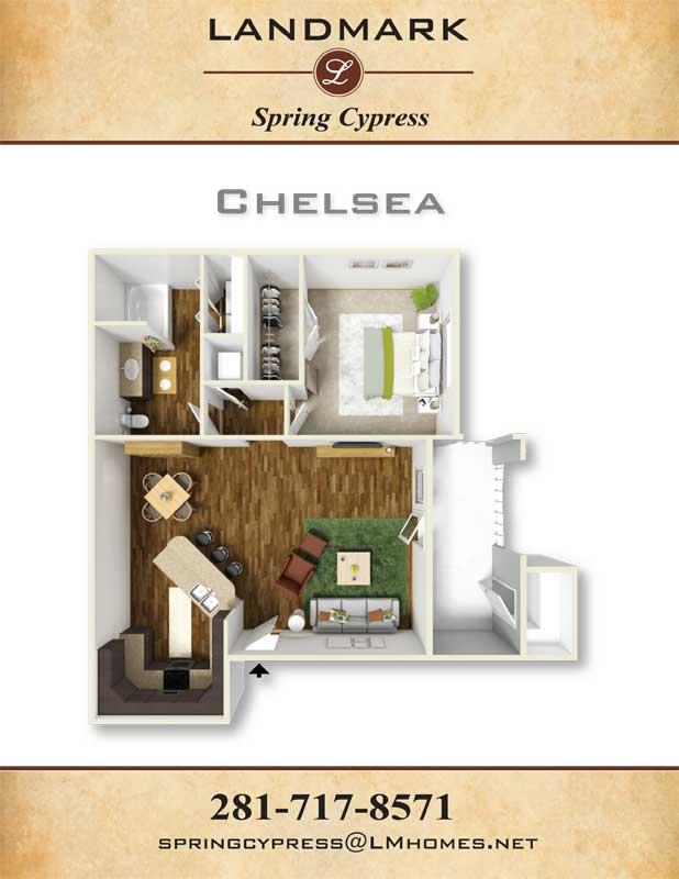 826 sq. ft. Chelsea floor plan