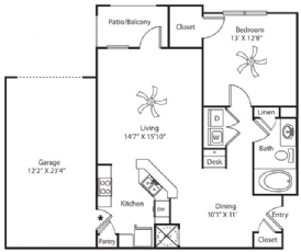 890 sq. ft. Garage floor plan