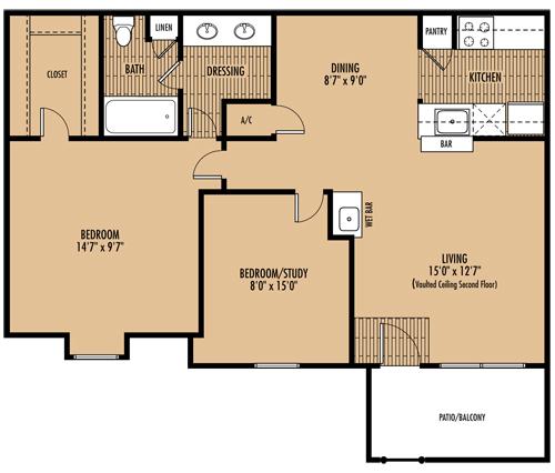 846 sq. ft. D floor plan