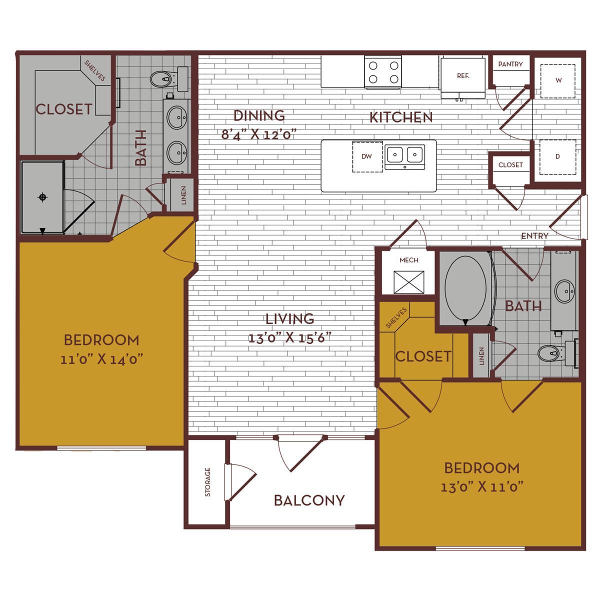 1,117 sq. ft. C2 floor plan