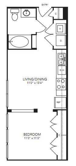 494 sq. ft. S1 floor plan