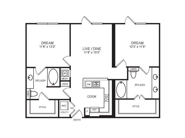1,034 sq. ft. Vickery Park floor plan