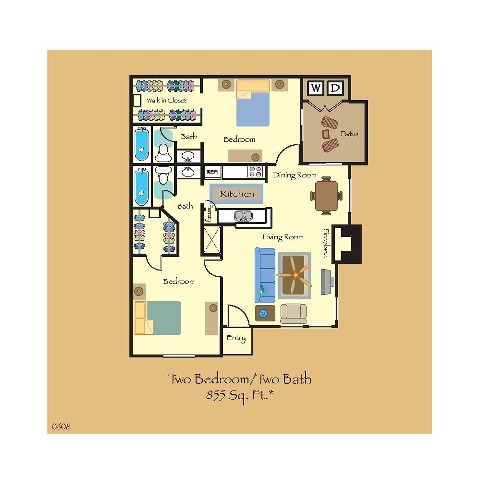 855 sq. ft. B4 floor plan