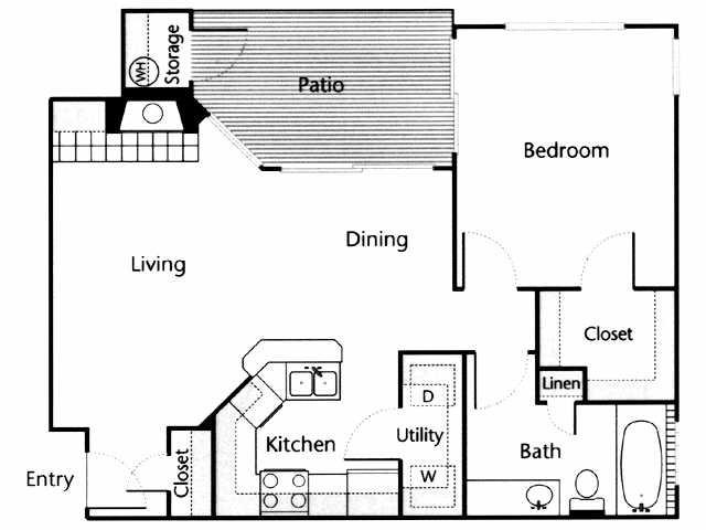 736 sq. ft. Rio Grande floor plan